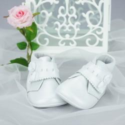 Chaussures bottines cérémonie bébé fille cuir blanc nacré Ref.5469