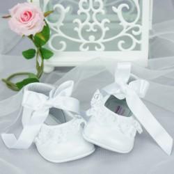 Chaussures cérémonie bébé fille cuir dentelle blanc nacré Ref.2000