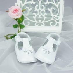 Chaussures cérémonie bébé fille blanches effet nacré tout cuir Ref.3269