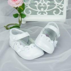 Chaussures cérémonie bébé fille blanches effet nacré tout cuir Ref.2619