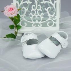 Chaussures cérémonie bébé fille blanches vernies tout cuir Ref.2240