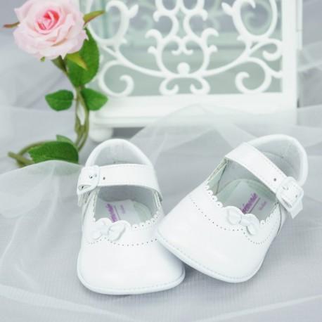 Chaussures cérémonie bébé fille blanches vernies tout cuir Ref.2259