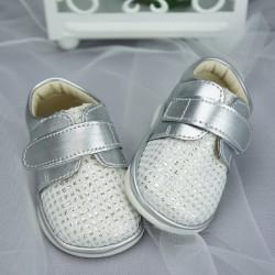 Chaussures cérémonie bébé garçon style cuir grises argent ref.704