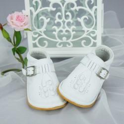 Chaussures cérémonie fille cuir blanc du 16 au 21