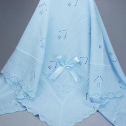 Couverture ou châle bébé bleu