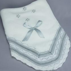 Couverture de baptême ou châle bébé blanc/gris