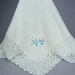 Couverture ou châle bébé blanc avec motifs nounours bleus