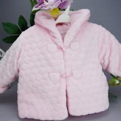Manteau fourrure bébé rose boules en relief