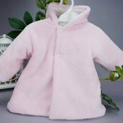 Manteau fourrure bébé à poils ras rose