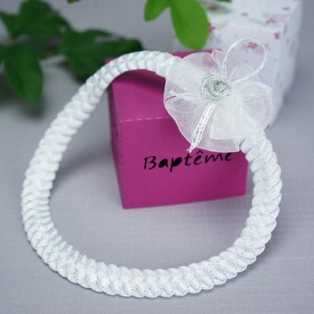 bandeau cheveux b b tress rose lacet argent pour. Black Bedroom Furniture Sets. Home Design Ideas