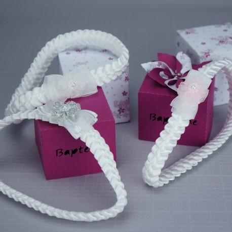 bandeau cheveux b b tress blanc rose argent pour. Black Bedroom Furniture Sets. Home Design Ideas
