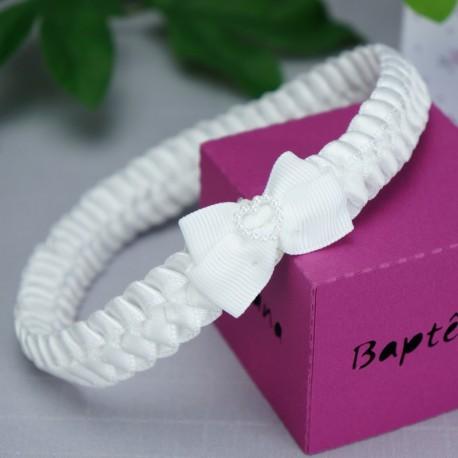 bandeau cheveux b b tress blanc motif coeur pour. Black Bedroom Furniture Sets. Home Design Ideas