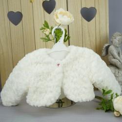 Boléro fourrure cérémonie fille blanc perle avec motifs roses en relief