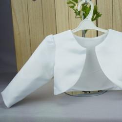 Boléro cérémonie bébé fille en satin blanc