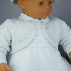 Gilet de baptême fille en lurex gris