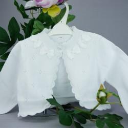 Gilet de baptême fille coton blanc