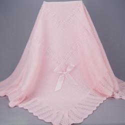 Couverture de baptême ou châle bébé rose 1