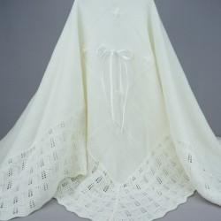 Couverture bébé cérémonie de baptême blanc perle 3