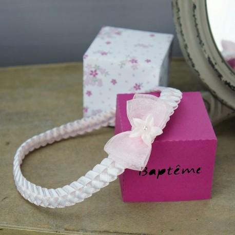 bandeau cheveux b b tress blanc rose pour c r monie fait. Black Bedroom Furniture Sets. Home Design Ideas