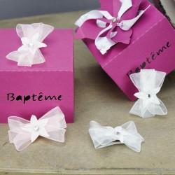 Pince à cheveux bébé cérémonie baptême, mariage blanc ou rose