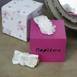 Pince à cheveux bébé cérémonie baptême, mariage motif rose