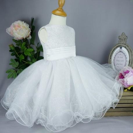 Robe Cérémonie Bébé Fille Blanche Pour Baptême Mariage Cortège