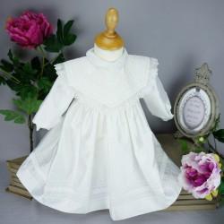 Robe cérémonie baptême blanche bébé fille manches longues RBML1