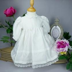 Robe cérémonie baptême blanche bébé fille manches longues RBML10