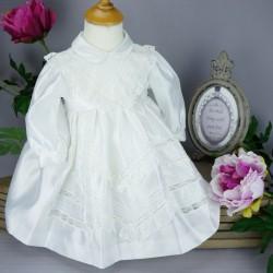 Robe cérémonie baptême blanche bébé fille manches longues RBML1.3