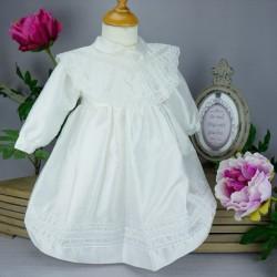Robe cérémonie baptême blanche bébé fille manches longues RBML1.4
