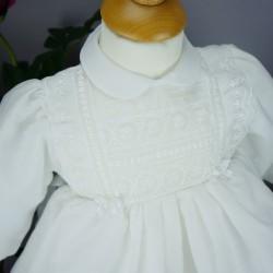 Robe cérémonie baptême blanche bébé fille manches longues RBML1.5