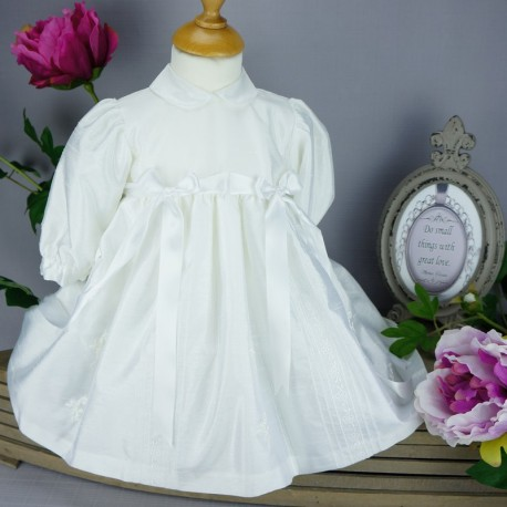 Robe blanche manches longues pour cérémonie de baptême, mariage ref. RBML1.6