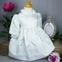 Robe blanche manches longues pour cérémonie de baptême, mariage ref. RBML1.7