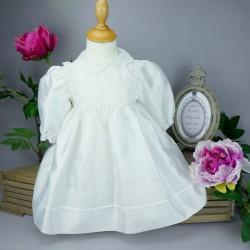 Robe cérémonie baptême blanche bébé fille manches longues RBML1.8