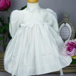 Robe blanche manches longues pour cérémonie de baptême, mariage ref. RBML1.9