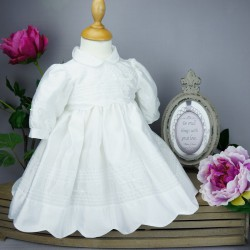 Robe cérémonie baptême blanche bébé fille manches longues RBML11