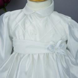 Robe cérémonie baptême blanche bébé fille manches longues RBML12