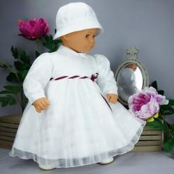 Robe cérémonie baptême blanche bébé fille manches longues RBML13