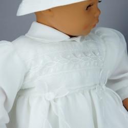 Robe blanche manches longues pour cérémonie de baptême, mariage ref. RBML14