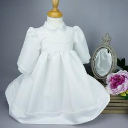 Robe cérémonie baptême blanche bébé fille manches longues RBML16