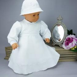Robe cérémonie baptême blanche bébé fille manches longues RBML17