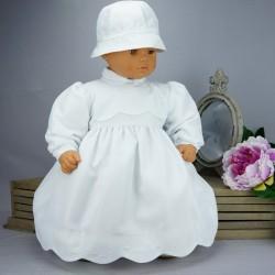 Robe cérémonie baptême blanche bébé fille manches longues RBML18