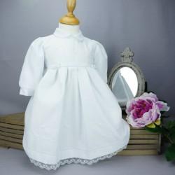 Robe cérémonie baptême blanche bébé fille manches longues RBML19