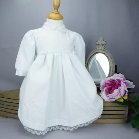 Robe Ceremonie Bapteme Bebe Fille Blanche Manches Longues
