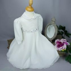 Robe cérémonie baptême blanche bébé fille manches longues RBML20