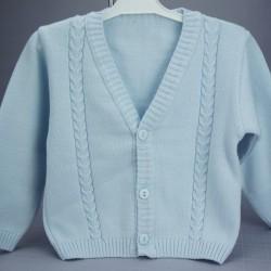 Gilet cérémonie bébé garçon coton bleu