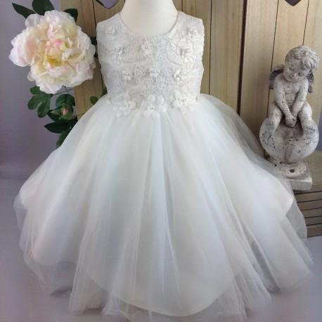 72aafa5674027 Robe de cérémonie bébé fille CH-RBK-3104 blanche ou ivoire