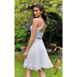 Robe cocktail femme bretelles strass Creatif Paris R109C