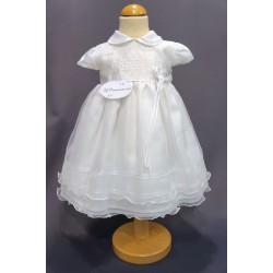 Robe cérémonie baptême blanche bébé fille  PO 1015MC