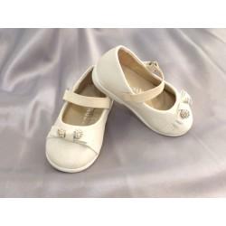 Ballerines cérémonie bébé fille blanc cassé pailletté